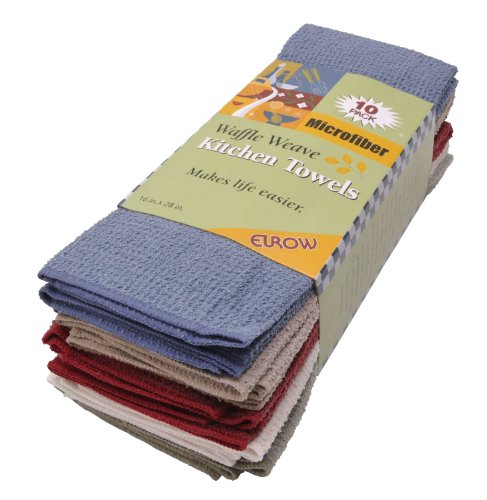 Hand Hemmed Towel Embroidered - Eurow Microfiber Waffle Weave Fast Dry Kitchen Towels (10-pack)