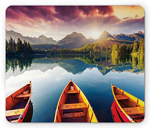 Landscape Mouse Pad, Sunset at Mountain Lake Strbske National Park Dramatic Sky and Boats, Standard Size Rectangle Non-Slip Rubber Mousepad, Orange Blue and Mauve,8.66 x 7.08 x 0.118 Inches ()