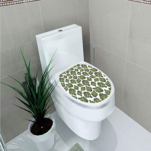 Toilet Applique,Artichoke,Detailed Drawing of Super Foods Fresh Vitamin Sources Natural Nutrition Source,Forest Green,Custom Sticker,W11.8