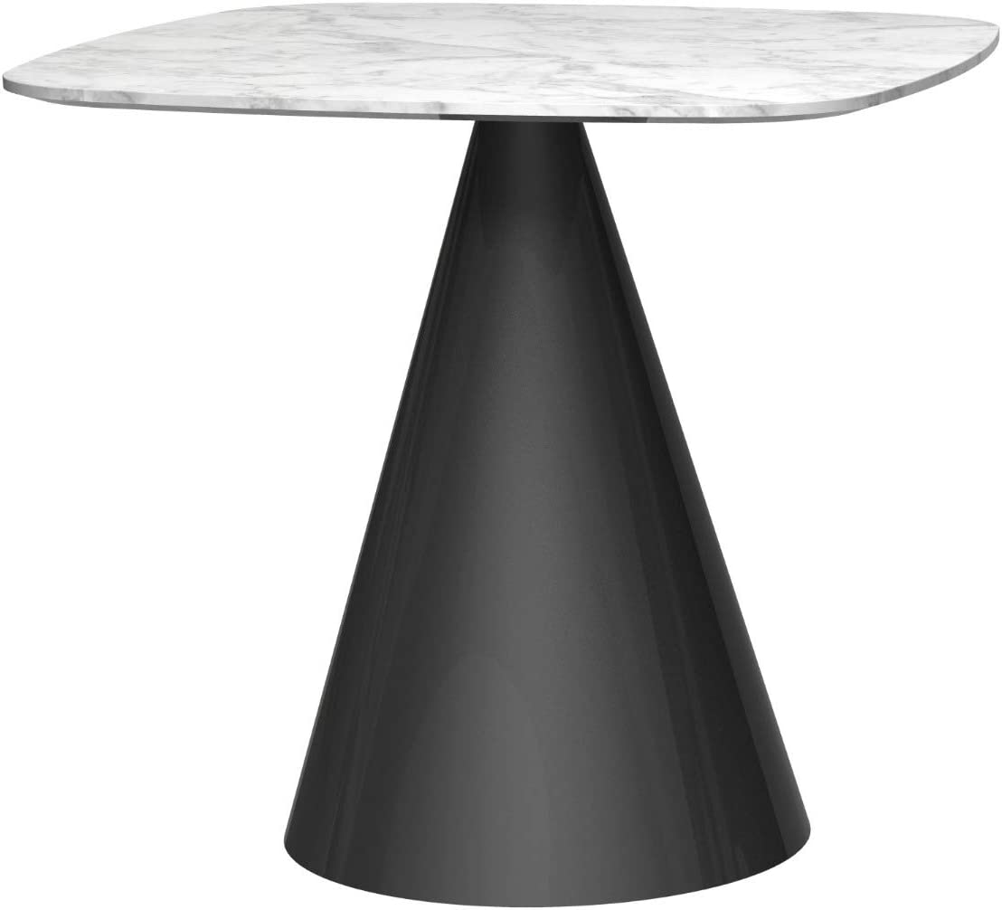 Gillmorespace Small Square Dining Table White Marble Top Black Base Amazon Co Uk Kitchen Home