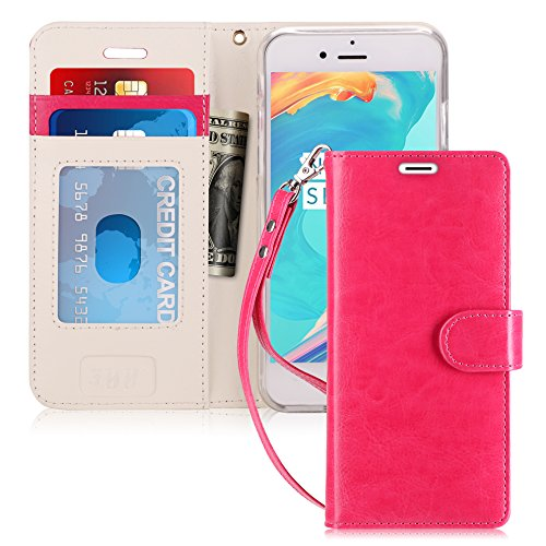 FYY Case for iPhone 6S Plus/iPhone 6 Plus [Kickstand Feature] Flip Folio Leather Wallet Case with ID and Credit Card Pockets for Apple iPhone 6/6S Plus (5.5) Magenta