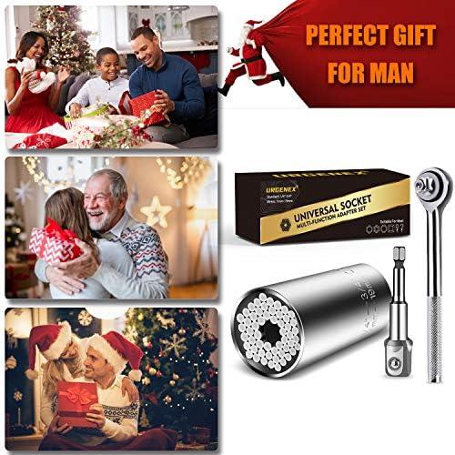 URGENEX Universal Socket Wrench Grip Socket Tool Sets Fits Standard 1/4'' - 3/4'' Metric 7mm-19mm with Power Drill Adapter Best Practical Tools Gift for DIY Handyman, Husband, Boyfriend, Dad, Women