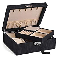 SONGMICS 2-Layer Jewelry Box, Lockable Jewelry Organizer, with Necklaces Hooks, Watch Cubes, Covered Compartment, Removable Divider, Thickened Frame, Gift for Loved Ones, Black, UJBC235BK