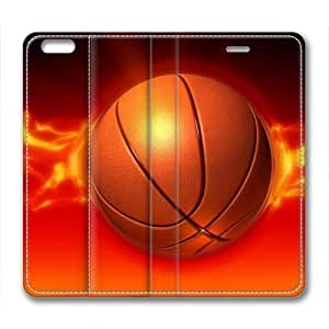Basketball On Fire Masterpiece Limited Design Leather Cover for iPhone 6 Plus by Cases & Mousepads Kimberly Kurzendoerfer