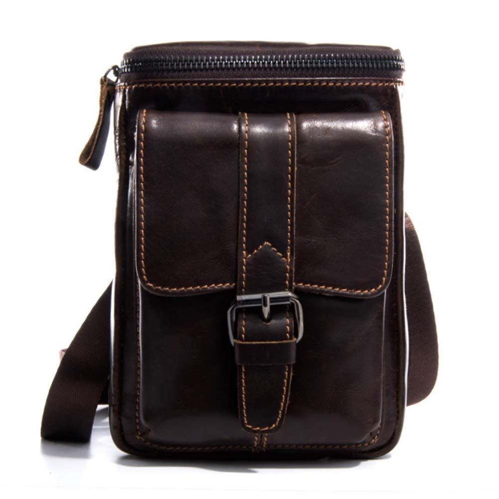 LQUIDE Herren Leder Taillenband Schulter Messenger Bag Multi-Funktion Handytasche Kann 6-Zoll-Handy Halten