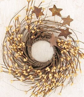 CWI Gifts Old Gold Pip and Twig with Rusty Star Wreath, 10-Inch FT125G