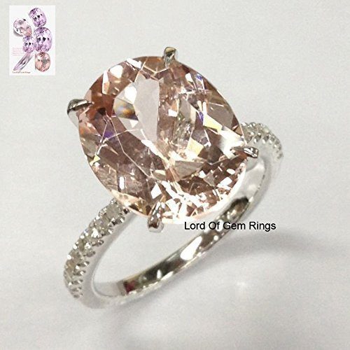 (Oval Morganite Engagement Ring Pave Diamond Wedding 14K White Gold 10x12mm)