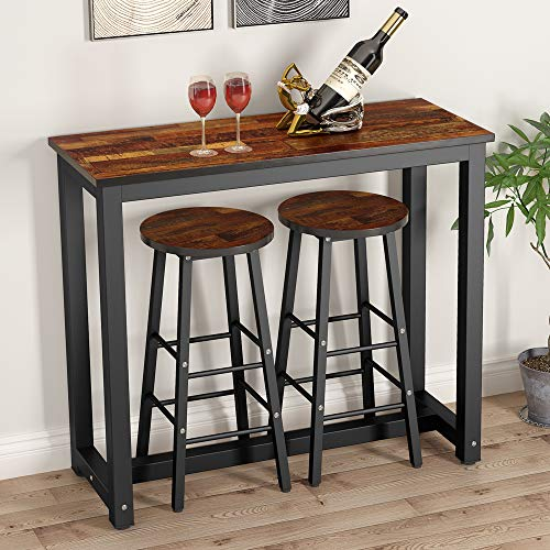 Tribesigns 3-Piece Pub Table Set, Counter Height Dining Table Set with 2 Bar Stools for Kitchen, Breakfast Nook, Dining Room, Living Room, Small Space ()