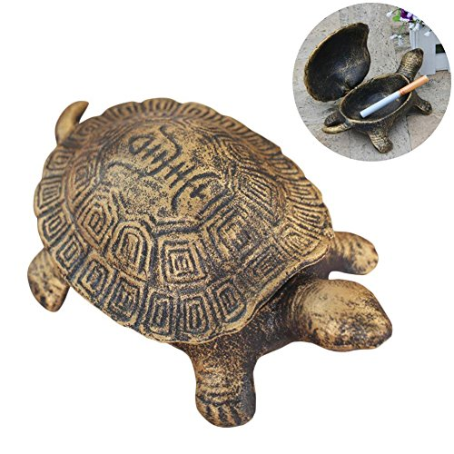 Ozzptuu Cast Iron Turtle Cigar Ashtray Decorative Cigarette Ash Bins Tray for Home or Bar Table Art Decorations by Ozzptuu