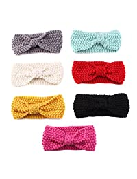 Chinatera Baby Girls Knit Headbands Infant Knotted Bow Pure Color Hair Band 7pcs