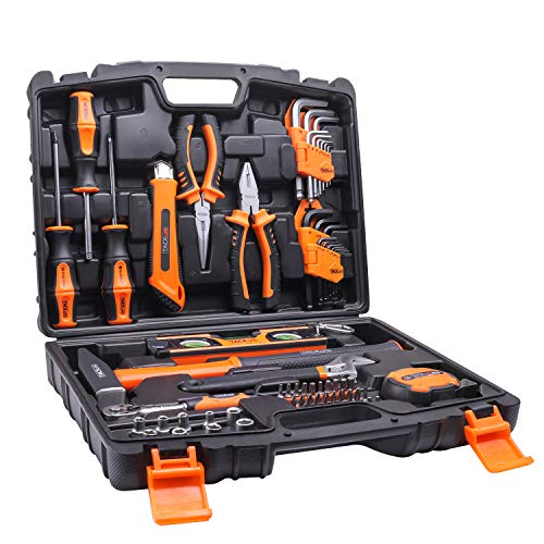 Tacklife 68Piece Household Tool Kit Home Repair Hand Tool Set with Tool Box Storage Case-HHK2A