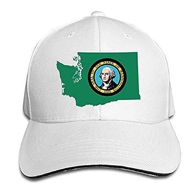 Flag Map Of Washington Adjustable Trucker Caps Unisex Sandwich Hats