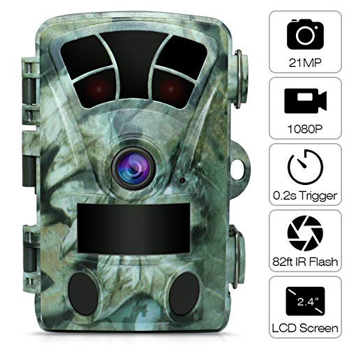 AIMTOM 21MP 1080P Hunting Trail Camera 2.4 Screen 0.2s Fast Trigger 130 Degree Wide Angle 82Ft Flash Range Stealthy Wildlife Game Cam Super High Power IR LEDs Night Vision Spray Water Protection