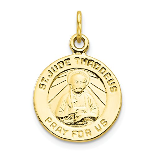 - 10k Yellow Gold Saint Jude Thaddeus Pray For Us Words On Round Charm 20x16mm