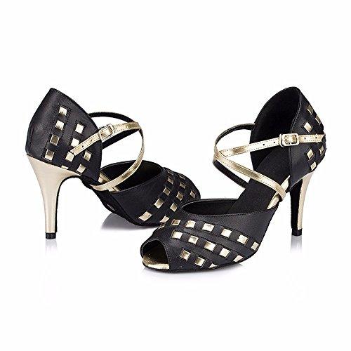punteras zapatos Sandalias de 5cm Mujer 8 Masocking Negro Zapatos de faltan para de Los Baile ballet alto correas tacón xqIYB74w