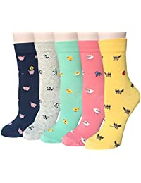 47db6674da7 5 Pairs Womens Cute Funny Socks Casual Cotton Crew Animal Socks