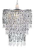 Waneway 3 Tier Beads Pendant Shade, Ceiling Chandelier Lampshade with Acrylic Jewel Droplets, Beaded Lampshade with Chrome Frame and Sparkling Beads, Diameter 8.7 inches, Chrome