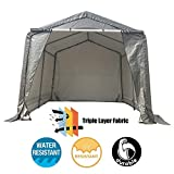 kdgarden 10x10x8 Feet Portable Shelter Shed Heavy Duty Outdoor Canopy Storage Tent, with 6 Steel Legs and 4 U-Type Ground Stakes for Stability, Peak Top Style, Gray with White Interior