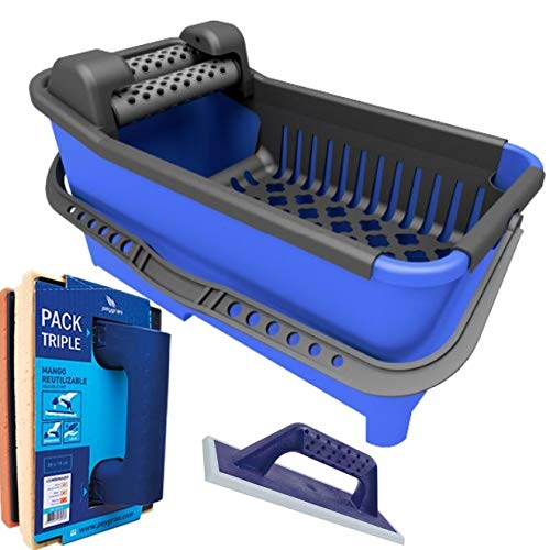 Peygran Grouting KIT: Grouting Bucket 20L Equipped with a Roller System That ensures a Maximum and More efficient Drainage with Grout Float and PRO Sponge Float Triple Pack (Bucket Grout Tile)