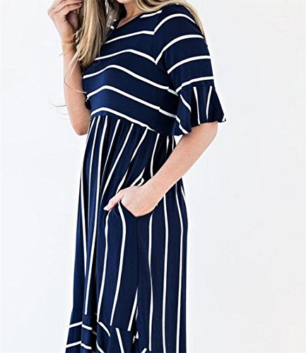 One Ruffles With Empire Pockets Sleeve 3 Women's Striped Domple Dress 4 Midi Waist gwTS7xnq