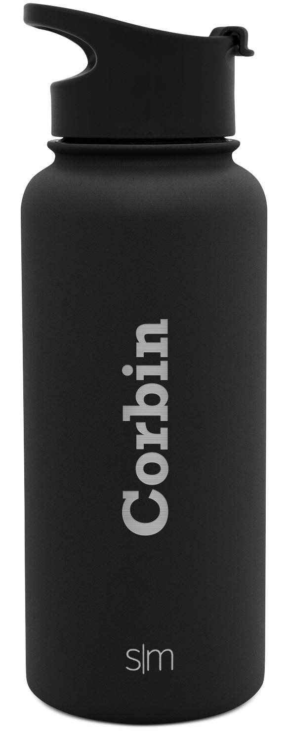 Simple Modern 32oz Personalized Summit Water Bottle - Gifts for Men & Women Custom Laser Engraved Name - Hydro Vacuum Insulated Flask with 2 Lids Leakproof Thermos - Midnight Black