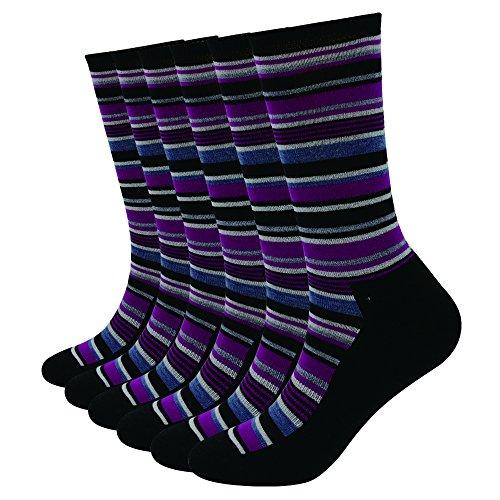 Enerwear 6P Pack Women's Merino Wool Blended Trail Socks(9-11, Purple Stripe) Blended Stripe