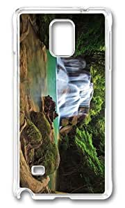 MOKSHOP Adorable forest waterfalls Hard Case Protective Shell Cell Phone Cover For Samsung Galaxy Note 4 - PC Transparent