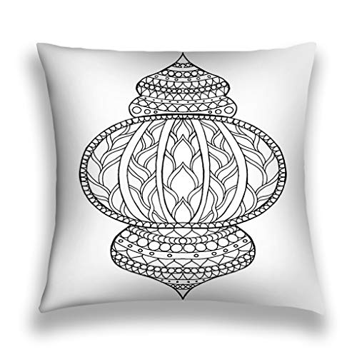 Throw Pillow Cover Pillowcase Hand Drawn Traditional Lantern