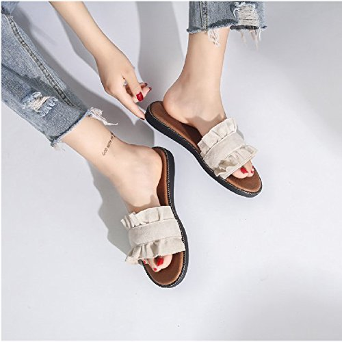 Btrada Women Fashion Lace Flower Sandals Anti-Slip Outdoor Summer Beach Slippers Apricot w5AJE