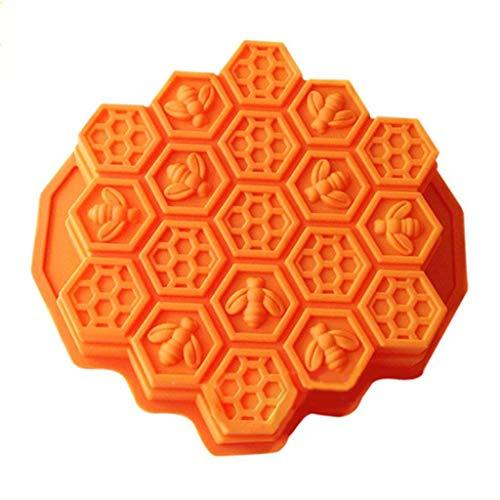 Fiaya 19 Holes Bee Honeycomb Silicone Mold for Chocolate Cake Jelly Pudding Handmade Soap Hexagon Shape (Orange)