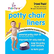 TidyTots Disposable Potty Chair Liners - Travel Pack - Fits All Potty Chairs - 16 Liners and 16 Super-absorbent Pads // TidyTots - Sacs jetables pour pot pour bébé - Pack de voyage - conviennent à la plupart des pots - 16 sacs et 16 lingettes super-absorbante