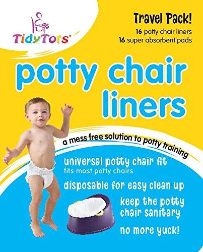 TidyTots Disposable Potty Chair Liners - Travel Pack - Fits All Potty Chairs - 16 Liners and 16 Super-absorbent Pads // TidyTots - Sacs jetables pour pot pour bébé - Pack de voyage - conviennent à la plupart des pots - 16 sacs et 16 lingettes super-absorba