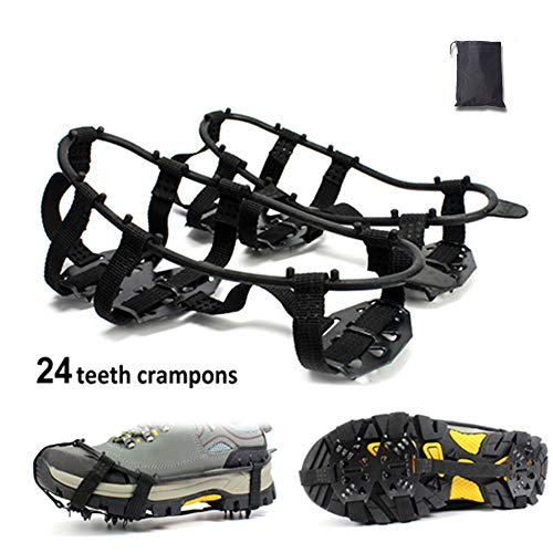 HAOYUNDAO Crampons Ice Snow Traction Cleats for Shoes and Boots Shoes Anti Slip 24 Nails Crampons System Safety Protection Walking for Hiking Fishing Gear, Snow Ground, Climbing and Hiking On Ice (L)