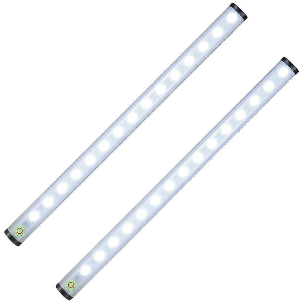 Closet Touch Light, 15 LED Rechargeable Wireless Tap light Dimmable Push Light Stick On Anywhere as Under Cabinet Light, Stair Light, Night Light, Camping Light(2 Pack)