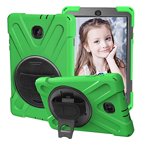 CCMAO Galaxy Tab A 8.0 Case 2018, SM-T387 Case, [Hand Strap] 360 Degree Rotating Kickstand Full-Body Impact Resistant Cover for Samsung Galaxy Tab A 8.0 Inch 2018 (SM-T387 Verizon/Sprint) (Green)