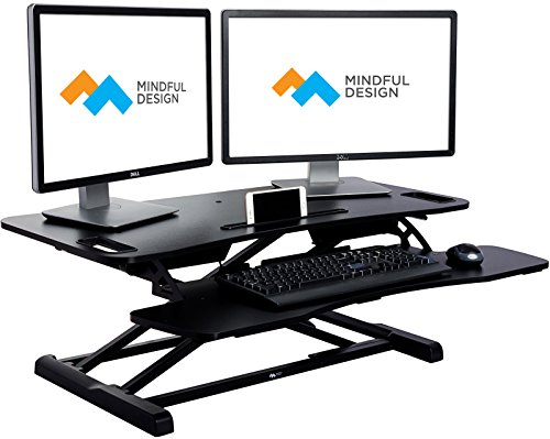 Adjustable Standing Desk – Sit to Stand Elevating Desk Top Workstation w Keyboard Tray, Fits Dual Monitors by Mindful Design Black, Extended