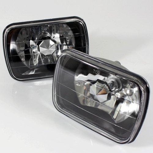 ModifyStreet 7x6 H6014/H6052/H6054 Black Crystal Headlights Lamps Conversion (1995 Chevy G20 Conversion Van)