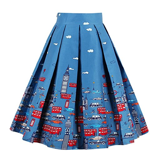 Girstunm Women's Pleated Vintage Skirt Floral Print A-line Midi Skirts with Pockets City-Cars -