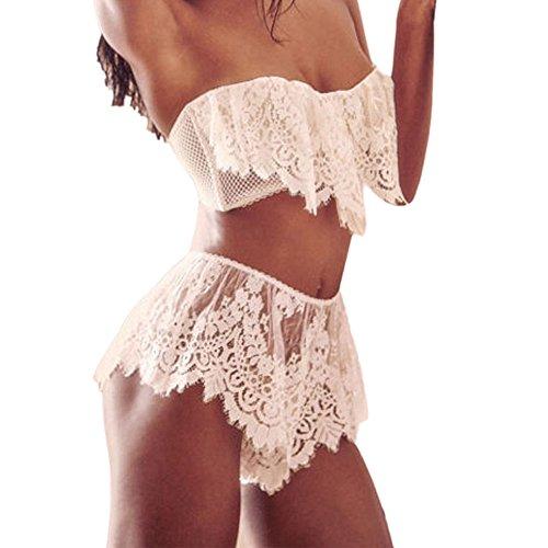 Leyorie Sexy Lace Mesh Lingerie Women Teddy Underwear Babydoll Sleepwear Bra G-string 2 pcs Set (White, M)