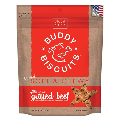 Cloud Star Soft & Chewy Buddy Biscuits Dog Treats, Grilled Beef , 6-Ounce Pouches (Pack of 4)