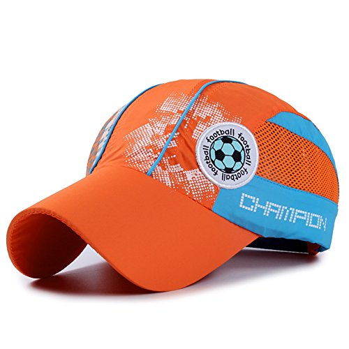 Home Prefer Kids Toddlers Lightweight Sun Hat Cotton Mesh Ball Caps Sun Protection Hats for Outdoor Sports Orange