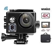 """Action Cam, WiMiUS 4k Sport Action Camera Full HD 16MP WIFI 2.0"""" Schermo LCD, Fotocamera Subacquea Impermeabile 40m WebCamera 170°Grandangolare con 2 Batterie e Kit di Accessori (Argento)"""