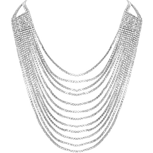 Humble Chic Darling Waterfall Bib Necklace Multi-Strand Chain CZ Simulated Diamond Collar, Silver-Tone (Bib Necklace Waterfall)