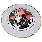 Home of Lhasa Apso 4 Dogs Playing Poker Porcelain Plate