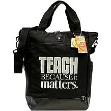 Teacher Peach Commuter Tote Bag - Convertible Cross Body Bag with Pockets, Organizers, Zippers, and Laptop Sleeve - Best for Teacher Appreciation or New School Teacher Gift - Black