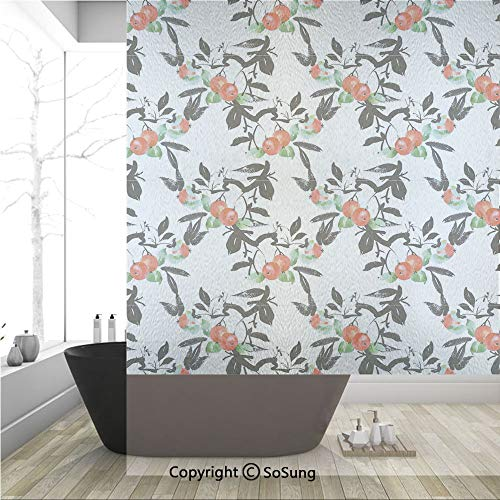 3D Decorative Privacy Window Films,Vivid Mountain Berries with Watercolor Doodle Shrubs Abstract Modern Decorative,No-Glue Self Static Cling Glass film for Home Bedroom Bathroom Kitchen Office 36x48 I