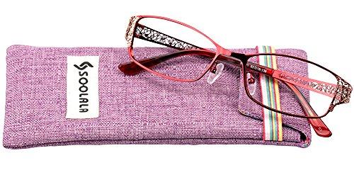 SOOLALA Women's Fashion Designer Hollow Arm Full Rimmed Reading Glasses, +2.25, - Red Tortoise Rimmed