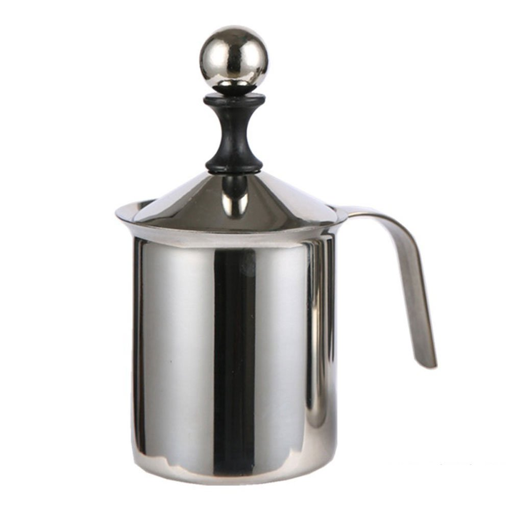 400ml/800ml Stainless Steel Milk Frother - Double Mesh Manual Milk Coffee Cappuccino Foamer Creamer (400ML) Hinmay