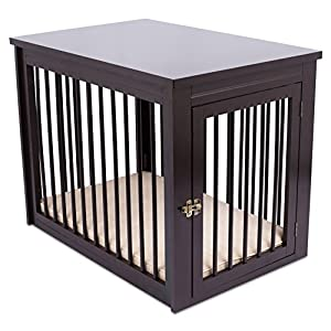 Internet's Best Decorative Dog Kennel with Pet Bed - Wooden Dog House - Large Indoor Pet Crate Side Table - Espresso 10