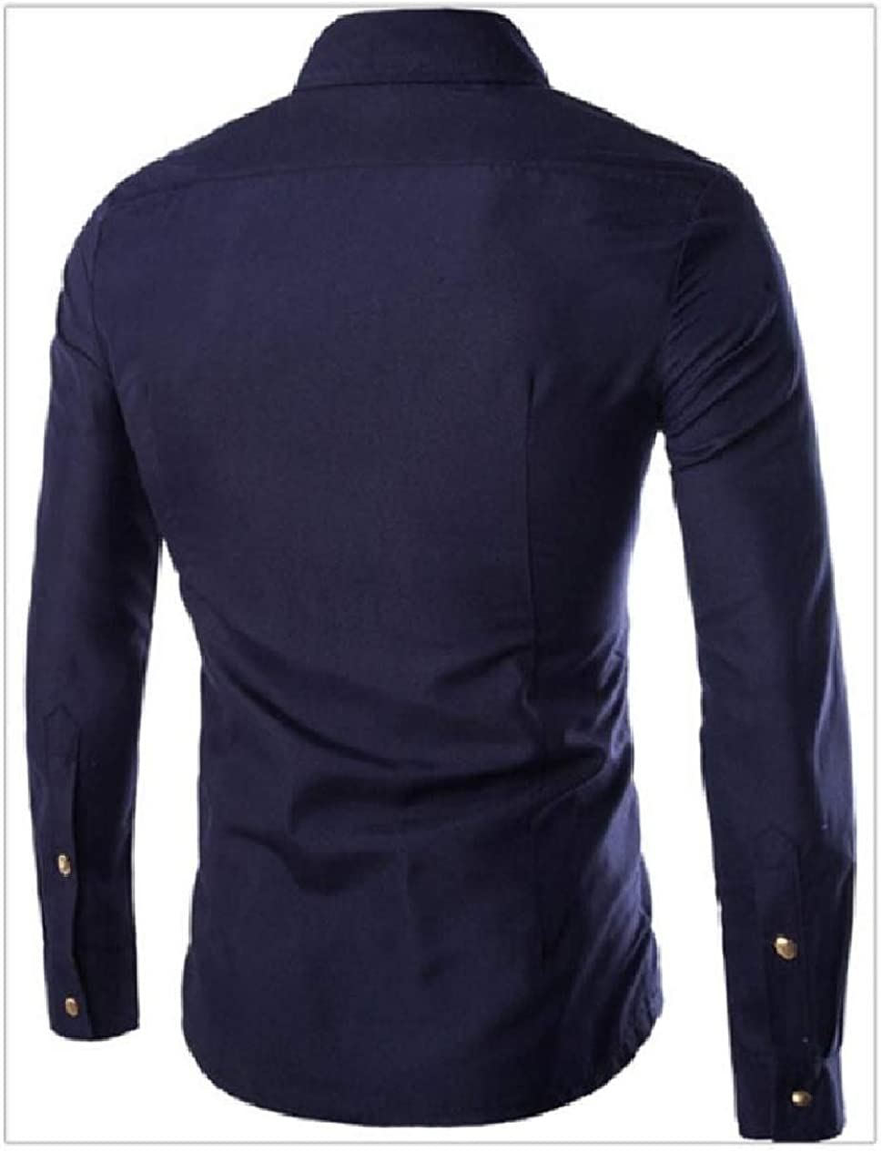 Whitive Mens Solid-Colored Long Sleeve Button Down Stitch Zipper Shirts